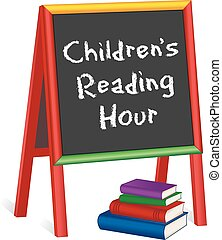 Reading Hour Sign, Childrens Easel