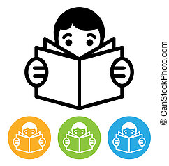 reading icon - reading open book icon isolated on white