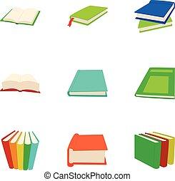 Reading icons set, cartoon style