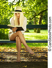 Reading in a park