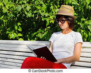 Reading in the summer garden