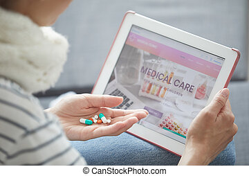 Reading information about medications on internet