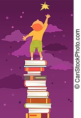 Boy, standing on a pile of book, reaching for a star. Vector illustration, EPS 8, no transparencies