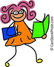 reading kid - little girl with books - toddler art