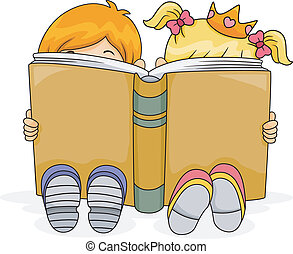 Illustration of a Boy and a Girl Reading a Fantasy Book Together