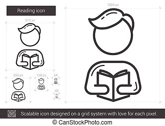 Reading line icon. - Reading vector line icon isolated on ...