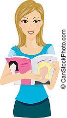 Reading Magazine - A Smiling Lady Reading a Women's Magazine
