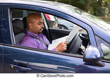 reading map in car