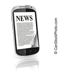 reading news on touch screen phone