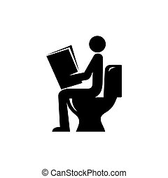 Reading newspaper in toilet icon - man reads news in the...