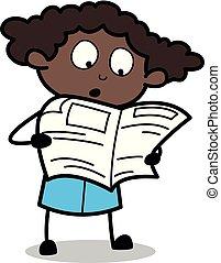 Reading Newspaper - Retro Black Office Girl Cartoon Vector Illustration