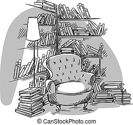 Reading nook, cozy room with bookshelves, vector...