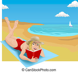 reading on beach illustration