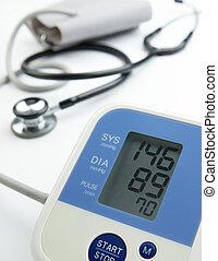 reading on the blood pressure gauge shows hypertension