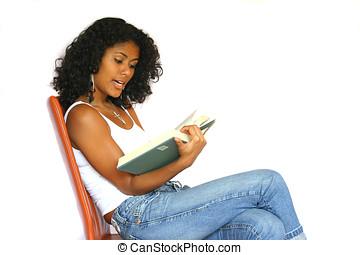 Reading out loud - Beautiful brazilian woman reading a book...