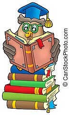 Reading owl teacher on books - color illustration.