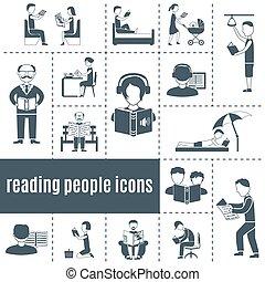 Reading People Icons Set