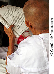 Reading religious words - Old Buddhist monk reading...