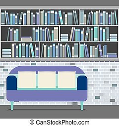 Reading Seat In Front Of A Bookcase