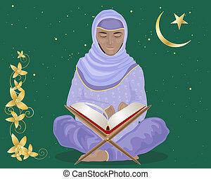 reading the koran - an illustration of a muslim woman...