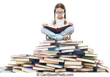 Reading time - Portrait of cute girl with open book and ...