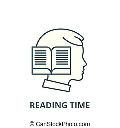 Reading time vector line icon, linear concept, outline sign, symbol
