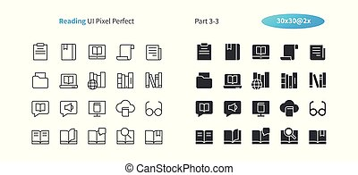 Reading UI Pixel Perfect Well-crafted Vector Thin Line And Solid Icons 30 2x Grid for Web Graphics and Apps. Simple Minimal Pictogram Part 3-3