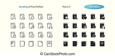 Reading UI Pixel Perfect Well-crafted Vector Thin Line And Solid Icons 30 2x Grid for Web Graphics and Apps. Simple Minimal Pictogram Part 2-3
