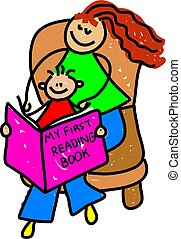 young mother reading with her little boy - toddler art series