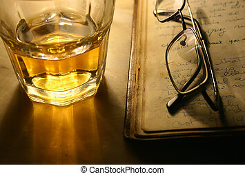 Reading with Whiskey - Whiskey Tumbler , old book and...