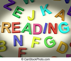 Reading Written In Multicolored Plastic Kids Letters