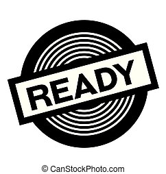 ready black stamp on white background, sign, label