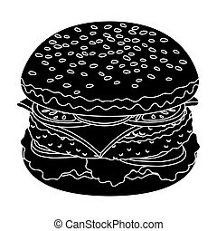 Ready burger with all the ingredients.Burgers and ingredients single icon in black style vector symbol stock illustration.