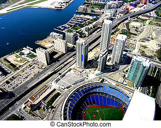 Ready for baseball. - Ariel view of Rogers center stadium.