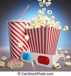 Ready For Cinema - Popcorn, soda, 3D glasses and movie...