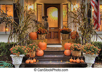 Ready for Halloween - Porch of a house decorated for...