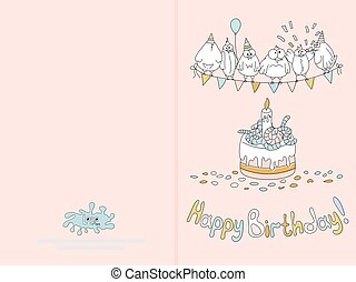 Ready for print happy birthday card design with funny birds...