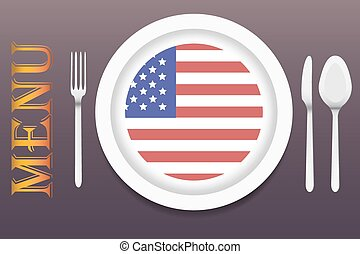 Ready for serving American cuisine vector - The vector is...