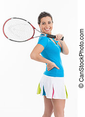 Ready for tennis game. Rear view of young beautiful women in tennis skirt holding a tennis racket and looking over shoulder while standing isolated on white