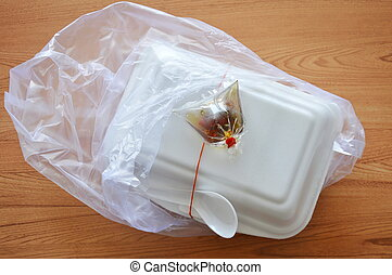 ready meal packing in foam box with plastic bag