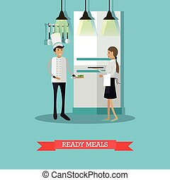Ready meals vector illustration in flat style