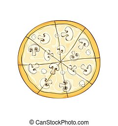 Ready pizza with mushrooms and cheese. Vector illustration