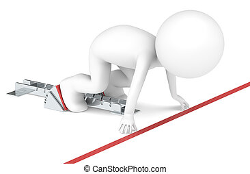 Ready set go. - 3D little human character The athlete at the...