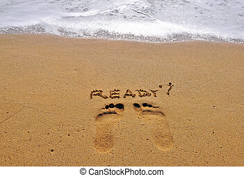 Ready sign on the sand
