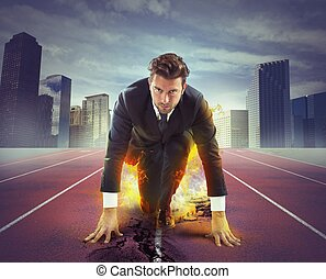 Ready to compete - Fiery and determined businessman ready to...
