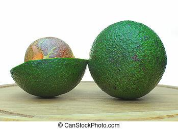 ready-to-eat, avocados., ., ligado, um, fundo branco, mentiras, a, fruta, abacate, como, um, fundo
