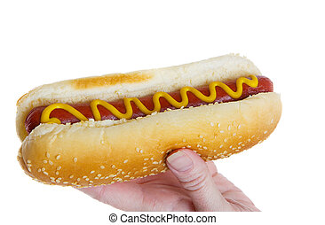 Female hand holding a hot dog ready to eat