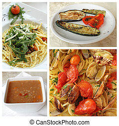 ready to eat italian cuisine dishes, group of images from italia