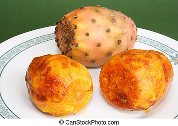 Ready to eat - Two fresh cactus fruits ready to eat