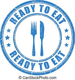 Ready to eat vector stamp